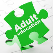 Education concept: Adult Education on puzzle background — 图库照片