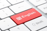 Education concept: Computer Pc and English on computer keyboard background — 图库照片