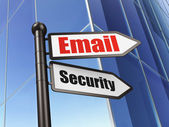 Privacy concept: sign Email Security on Building background — Stok fotoğraf