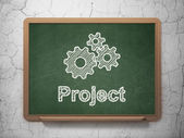 Finance concept: Gears and Project on chalkboard background — Stock Photo