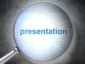 Marketing concept: Presentation with optical glass — Stok fotoğraf