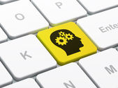 Education concept: Head With Gears on computer keyboard background — Foto Stock