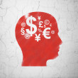 Advertising concept: Head With Finance Symbol on wall background — Stock Photo