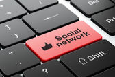 Social media concept: Thumb Up and Social Network on computer keyboard background — Stock Photo