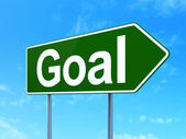 Marketing concept: Goal on road sign background — Foto de Stock
