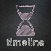 Timeline concept: Hourglass and Timeline on chalkboard background — Stok fotoğraf