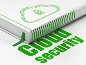 Protection concept: book Cloud With Padlock, Cloud Security on white background — Photo