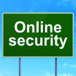Safety concept: Online Security on road sign background — Stock Photo
