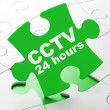 Safety concept: CCTV 24 hours on puzzle background — Stock Photo