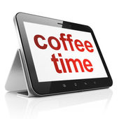 Time concept: Coffee Time on tablet pc computer — Stok fotoğraf