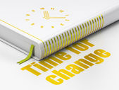 Timeline concept: book Clock, Time for Change on white background — Stockfoto