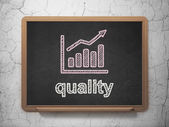 Marketing concept: Growth Graph and Quality on chalkboard background — 图库照片
