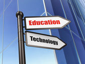 Education concept: sign Education Technology on Building background — Stockfoto