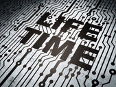 Time concept: circuit board with Life Time — Stok fotoğraf