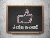 Social network concept: Thumb Up and Join now! on chalkboard background — Stock Photo
