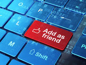 Social media concept: Thumb Up and Add as Friend on computer keyboard background — Stock Photo