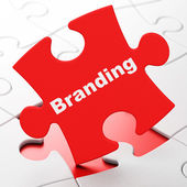 Advertising concept: Branding on puzzle background — Photo