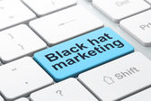 Business concept: Black Hat Marketing on computer keyboard background — Stock Photo