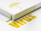 Protection concept: book Umbrella, Virus on white background — Stock Photo