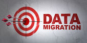 Data concept: target and Data Migration on wall background — Stock Photo