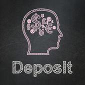 Onderwijs concept: hoofd met financiën symbool en storting op schoolbord achtergrond — Stockfoto