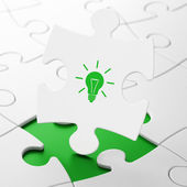 Business concept: Light Bulb on puzzle background — Foto Stock
