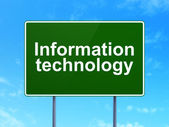 Information concept: Information Technology on road sign background — Stock Photo