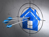 Safety concept: arrows in Home target on wall background — Stock Photo