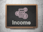Business concept: Calculator and Income on chalkboard background — Foto Stock