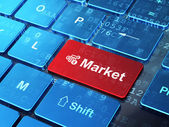 Finance concept: Calculator and Market on computer keyboard background — Foto Stock