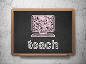 Education concept: Computer Pc and Teach on chalkboard background — Stock Photo