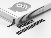Finance concept: book Head With Gears, Project Management on white background — Foto Stock