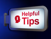 Education concept: Helpful Tips and Head With Keyhole on billboard background — Stock Photo