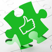 Social network concept: Thumb Up on puzzle background — Stock Photo