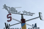 Signpost directions of the compass in the Antarctic. — Foto de Stock