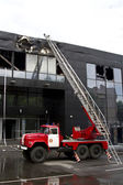 Consequences of a fire in a Druzhba sports complex in the city o — Stock Photo