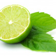 Juicy green lime and leaf of mint — Stock Photo #19686081