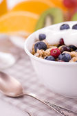 Yogurt with muesli and berri — Stock Photo