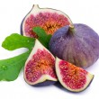 Ripe, beautiful fig with green leaf — Stock Photo