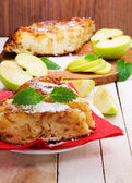 Apples pie on red napkin — Stock fotografie