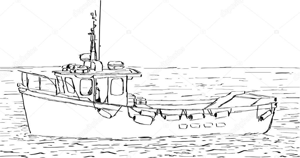 как рисовать лодку