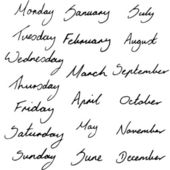 Handwritten Calendar Labels — 图库矢量图片