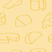漫画チーズのシームレスな背景 — ストックベクタ