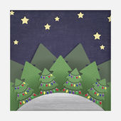 Christmas Forest Paper Cut-out — Stock Vector