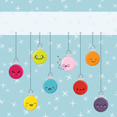 Cartoon Kawaii Hanging Baubles — Stock Vector