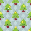 Seamless Cartoon Kawaii Christmas Tree Background — Stock Vector