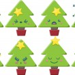 Cartoon Kawaii Christmas Tree Set — Stock Vector