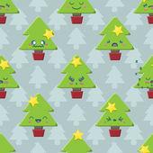бесшовные мультфильм каваи рождественская елка фон — Cтоковый вектор