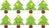 Cartoon Kawaii Christmas Tree Set — Stock Vector