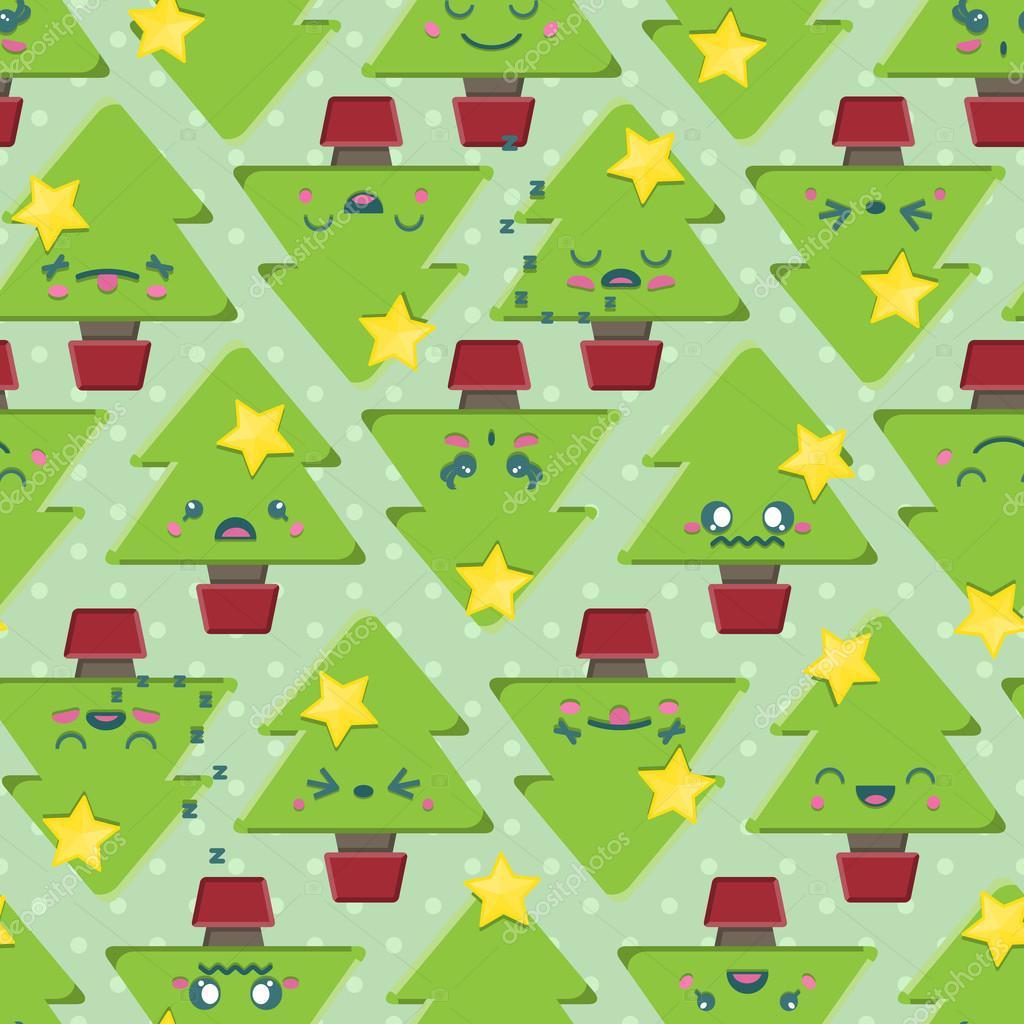 超级可爱的卡哇伊圣诞树图案无缝背景平铺